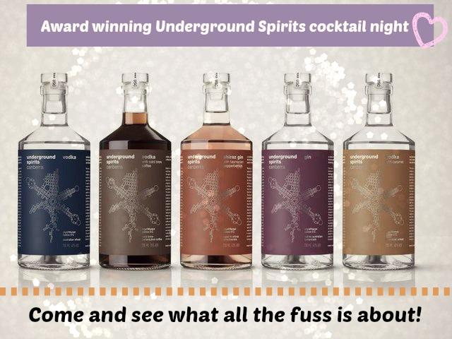 Underground Spirits Cocktail evening - 9 November @ Hops and Vine Hall